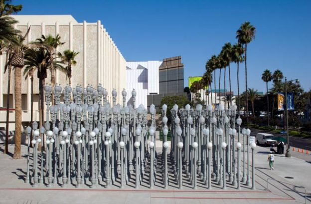 Street lamps at the Los Angeles County Museum of Art LACMA