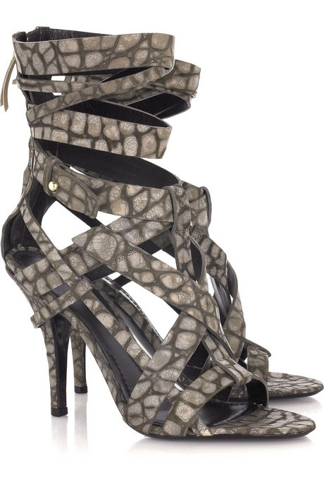 Alligator Print Leather Sandals