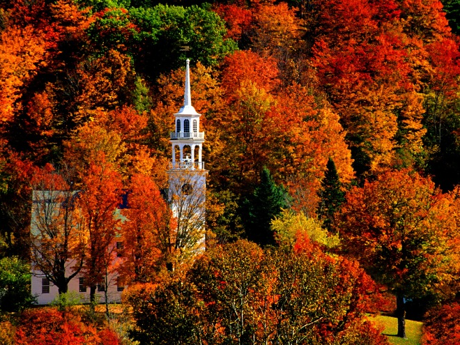 VT, Strafford, Church in peak fall color