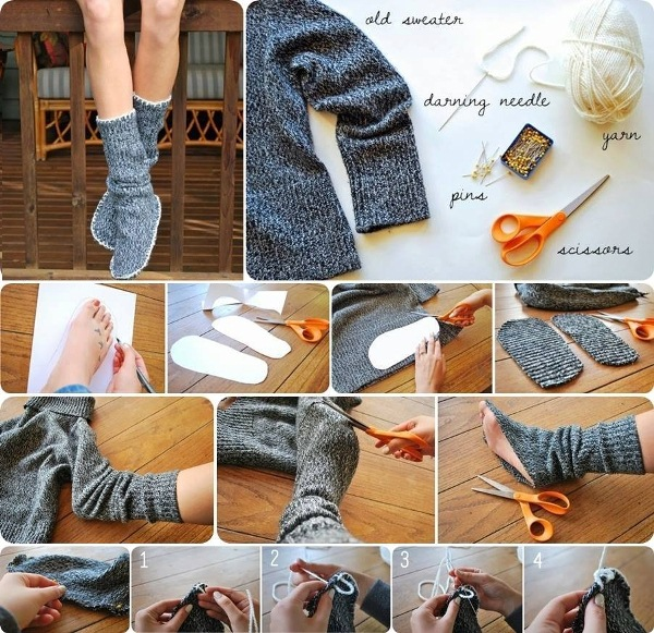 DIY-Insulated-Socks-from-old-Sweater